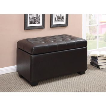 Multifunctional Tufted Storage Ottoman, Dark Brown