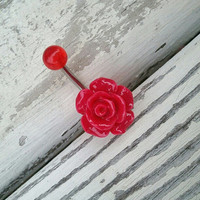 Red Rose Belly Button Jewelry Ring Piercing Navel Bar Barbell Rosebud Flower Bud Crimson Azeetadesigns