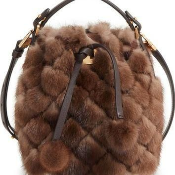 Michael Kors Extra Small Miranda Genuine Mink Fur Bucket Bag | Nordstrom