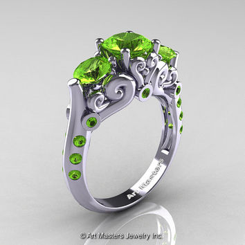 Art Masters 10K White Gold Three Stone Peridot Modern Antique Engagement Ring R515-14KWGP
