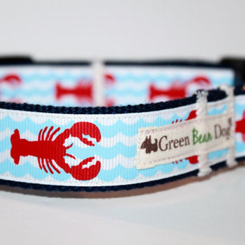 Lobster Dog Collar / Handmade Dog Collar / Adjustable Dog Collar / Pike
