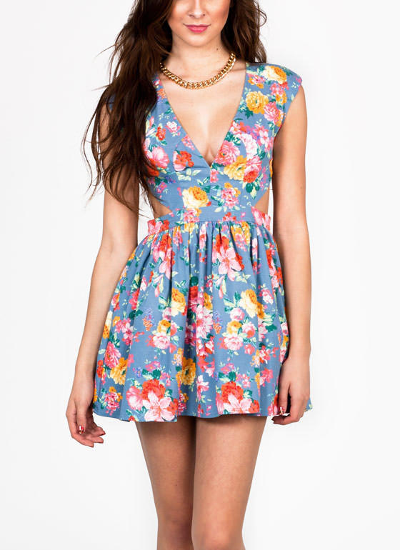 Cut Out Floral Print Dress Bluepink From Gojane Night