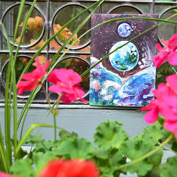 "ThirdEyeGallery: ""Baby Gemini"" Globe Dewdrop World Mini Thin Canvas Painting, Magic Hippie Art, Mystical Painting, Free Spirit 5x7 Print"
