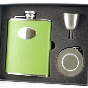 Visol Green Leather Flask, Telescopic Shot Cup and Funnel Gift Set