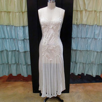 1980s Cream Satin Fitted Risque Nightgown with Sheer Center and Embroidery S/M