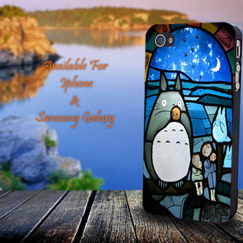 Totoro Stained Glass - John Green - Print on hard plastic for iPhone case. Please choose the option.