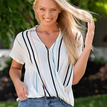 Blessed Forever Surplice Striped Blouse : Ivory/Multi