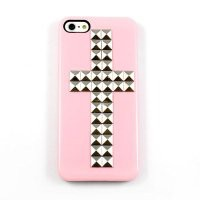 Studded Cross Iphone 5 5G Case Cover Ultra Pink with Sliver Pyramid Studs Stud Cool