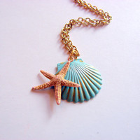 Scallop Shell and Starfish Charm Necklace - Small - Aqua Blue and Pale Pink - Hand Painted Patina - Brass - Ocean Beach Sea