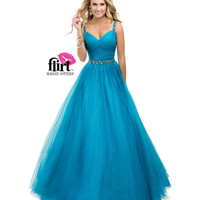 Flirt by Maggie Sottero 2014 Prom Dresses - Electric Teal Tulle Ball Gown with Ruched Tulle & Jeweled Straps