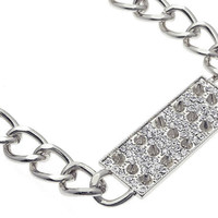 NECKLACE / LINK / METAL CHAIN / CRYSTAL STONE PAVED / SPIKES / 16 INCH LONG / NICKEL AND LEAD COMPLIANT