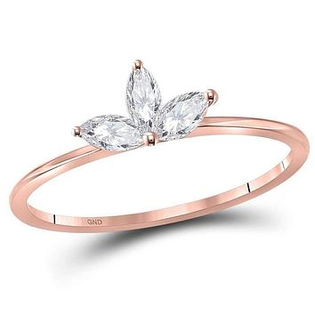 10k Rose Gold Women's Marquise Diamond Three-stone Stackable Ring - FREE Shipping (US/CA)