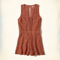 Girls Lace-Up Lace Romper | Girls New Arrivals | HollisterCo.com