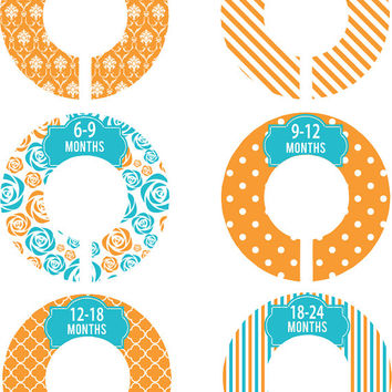 Custom Baby Closet Dividers Girl Orange Turquoise Damask Stripe Dots Nursery Closet Dividers Baby Shower Gift Baby Clothes Organizers Baby