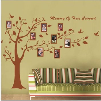 large size European brown tree photo frame vinyl wall stickers home decor wallpaper murals Adesivo de parede house decoration