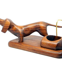 "New Wooden Pipes Stand ""DACHSHUND"" for Tobacco Smoking Pipes. Handmade Ash-Tree"
