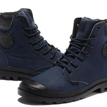 Palladium Pampa Cuff Wp Lux Men Martin Boots Leather Navy Blue Black - Beauty Ticks