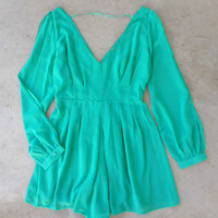 By the Bay Romper in Green : Feminine, Bohemian, & Vintage Inspired Clothing at Affordable Prices, deloom