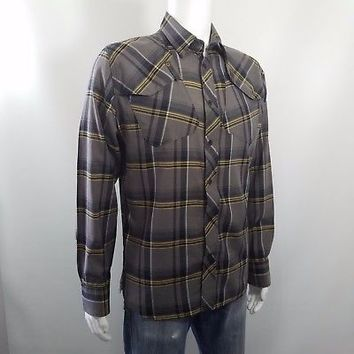 G-Star RAW 3301 Blanner Jack Snap Button Shirt Long Sleeve Brown Plaid Mens Sz L