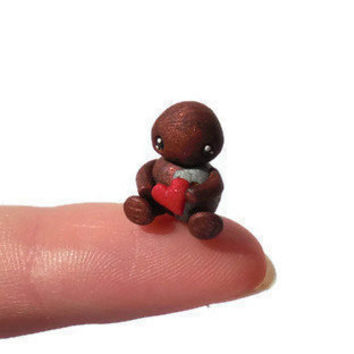 Micro robot sculpture, robot figurine, polymer clay miniature, geekery decor, designer toy, japanese, manga, anime, kawaii