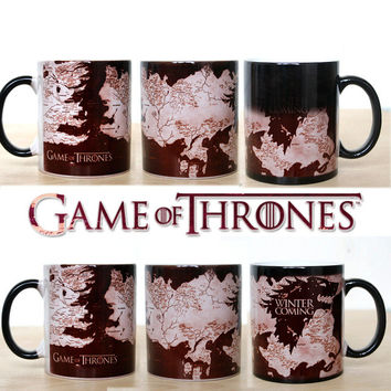 Game Of Thrones Mug heat changing color mugs Winter is Coming,Houses Baratheon,Greyjoy,Martell,Stark,Tully,Tyrell coffee mug Cup
