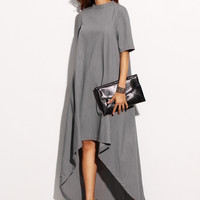 Grey High Neck Short Sleeve Long Back Dress