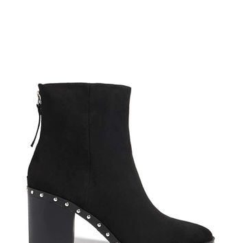 Faux Suede Studded Ankle Boots