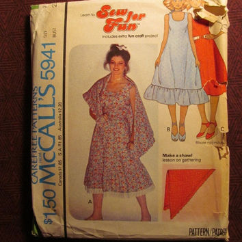 Sale Uncut 1970's McCall's Sewing Pattern, 5941! Size 7-8 Bust 29 Small/Women's/Misses/Juniors/Shawl/Sleeveless Hippie Dresses/Tiered or Ruf