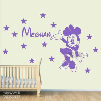 Mini Mouse Name Wall Sticker DIY Baby Nursery Custom Name Wall Decal Kids Room Children Name Wall Decor Baby Nursery Name 556C