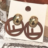 Fendi Fashion New Letter Circle Earring Personality Women Accessories Coffee