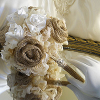 "Burlap Bridal Wedding Bouquet handmade of rustic burlap roses, vintage lace and satin roses with rhinestones. ""READY TO SHIP"""