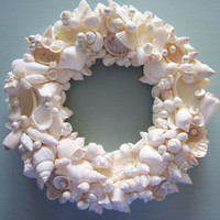 Beach Decor Seashell Wreath  Shell Wreath w by beachgrasscottage