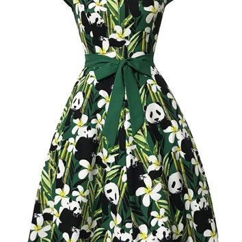 Panda Print Long Skater Dress with Big Bow