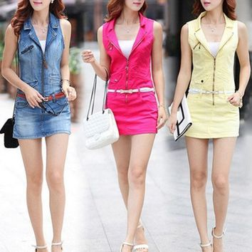 PEAPIX3 High Quality Spring Summer Bodycon Casual Women Denim Dress Sexy Mini Sleeveless Sheath Jeans Dresses