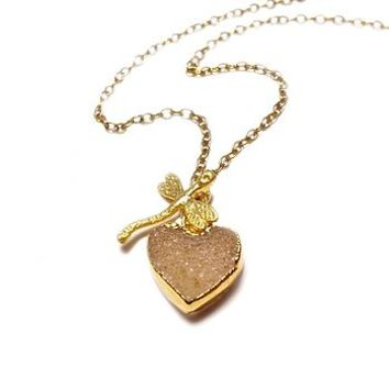 Druzy Heart And Dragonfly Necklace