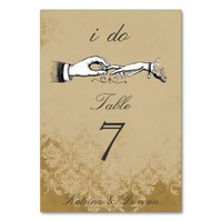 I Do Vintage Wedding Ring Cream Damask Table Card