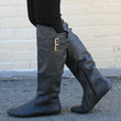 """""""Proud"""" Knee High Flat Boots with Buckle Straps - Black"""