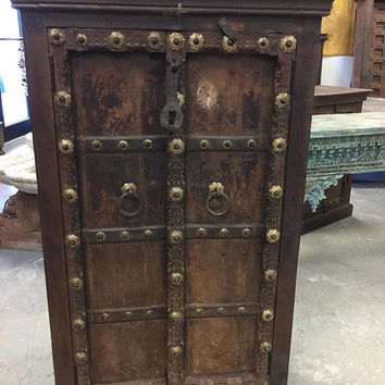 Antique Brass Patina Floral Chakra Grooved Haveli Armoire Furniture old Spanish Style Design Decor