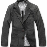 New Men Hot Spring/Winter Grey Wool Blend Coat M/L/XL@dat253g