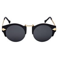 Black Half Frame Sunglasses with Metal Panel