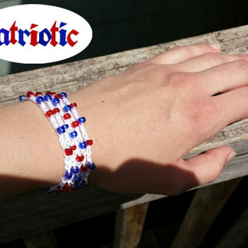 Patriotic beaded crochet bracelet anklet necklace in one. USA. Red, white, blue. Made To Order