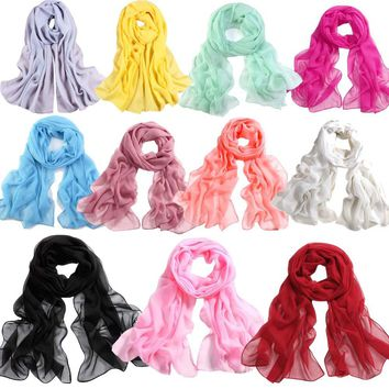 Girls Women Long Soft Thin Wrap Lady Shawl Chiffon Scarf Beach Scarves in Women's Accessories Infinity Scarf Scarves & Shawls