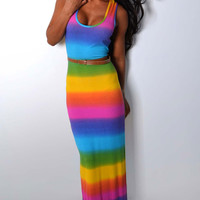 Rainbow Pattern Tank Maxi Dress