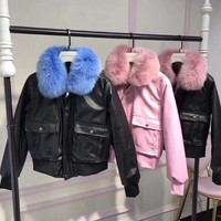 ONETOW Givenchy' Women Simple Fashion Fur Collar Long Sleeve Zip Cardigan PU Leather Clothes Cotton-padded Jacket Coat