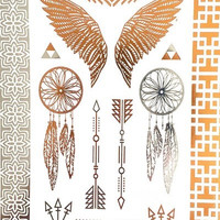 Wings Arrows & Dream Catchers Metallic Tribe Temporary Tattoos