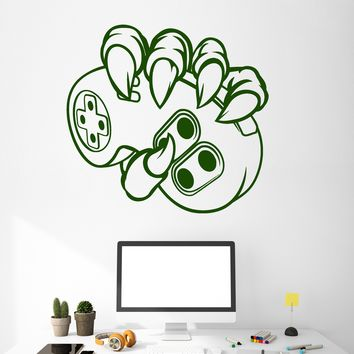 Vinyl Wall Decal Monster Hand Joystick Video Game Gamer Stickers (2364ig)