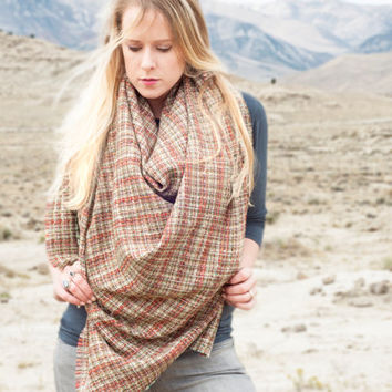 Plaid Blanket Scarf, Oversized Tweed Scarf Wrap, Woven Shawl Scarf, Womens Scarves, Extra Large Plaid Scarf, Chunky Christmas Gift for Her