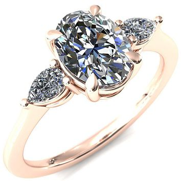 Robyn Oval Moissanite 4 Claw Prong 2 Rail Basket Pear Sidestones Inverted Cathedral Engagement Ring