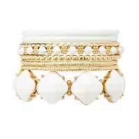 Gem Stretch Bracelet & Bangles - 8 Pack by Charlotte Russe - White