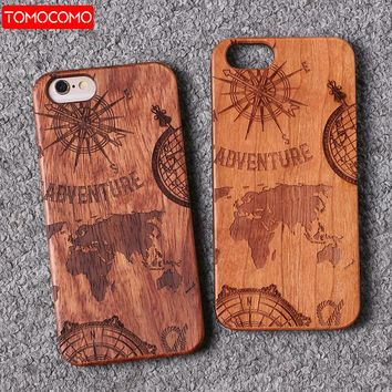 TOMOCOMO For iPhone 6 6Plus 7 7Plus 8 8Plus King Queen Crown World Map Praying Real Wood Phone Case For SAMSUNG S7 Edge S9 Plus